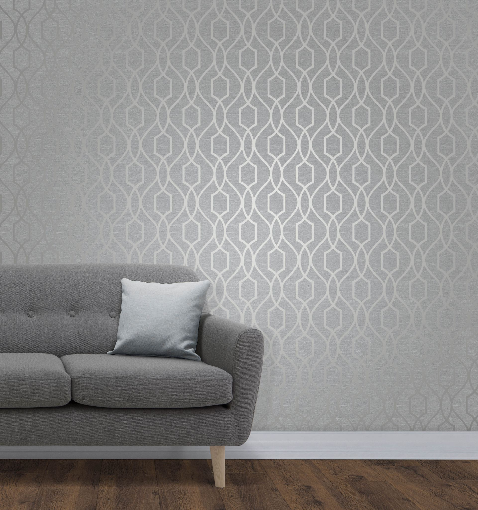 Fine Decor Apex Geo Trellis Silver Fd41995 Wallpaper