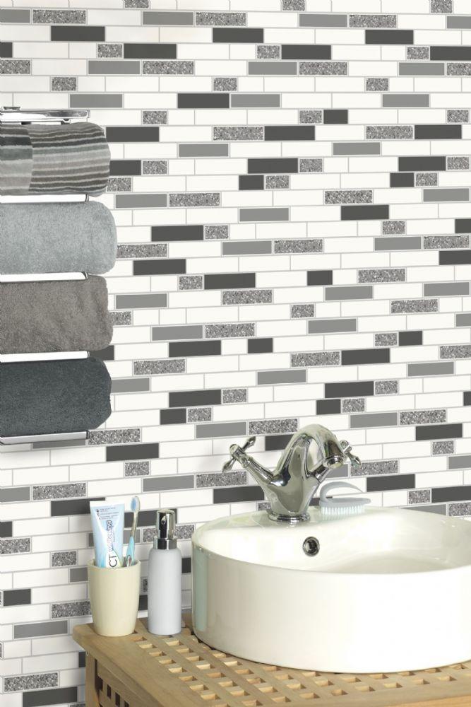 Holden Decor Oblong Granite Kitchen Bathroom Wallpaper Glitter Tile 3 Colours