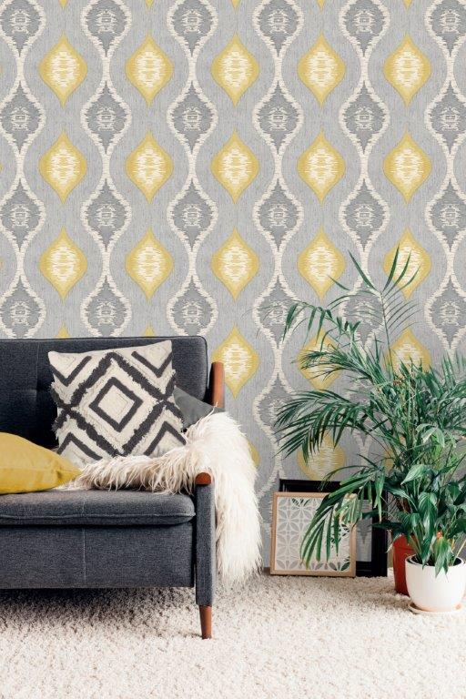 Belgravia San Marino Grey/Yellow 3716 Wallpaper