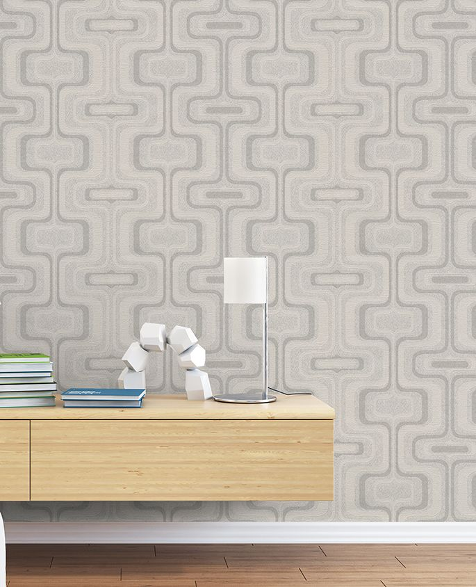 Belgravia San Remo Retro Geometric Smoke/Silver 6513 Wallpaper