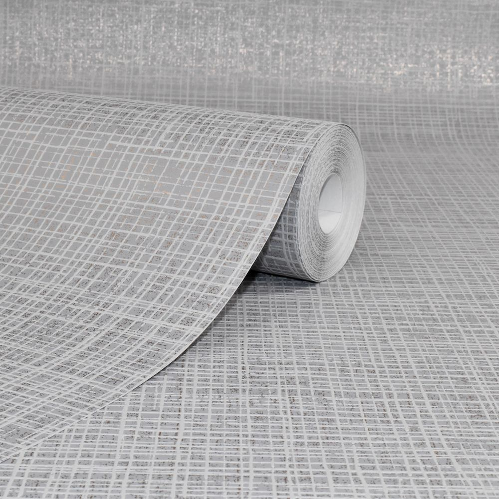 Graham and Brown Ariana Weave Grey & Rose Gold 106844 Wallpaper