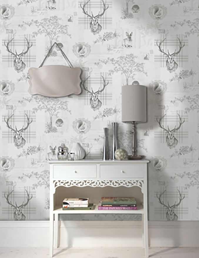 Holden Decor Richmond Grey Stag 98013 Wallpaper
