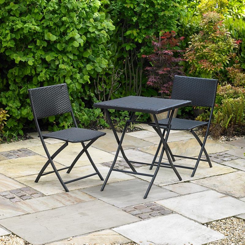 Kingfisher Rattan Effect Garden Furniture Bistro Set