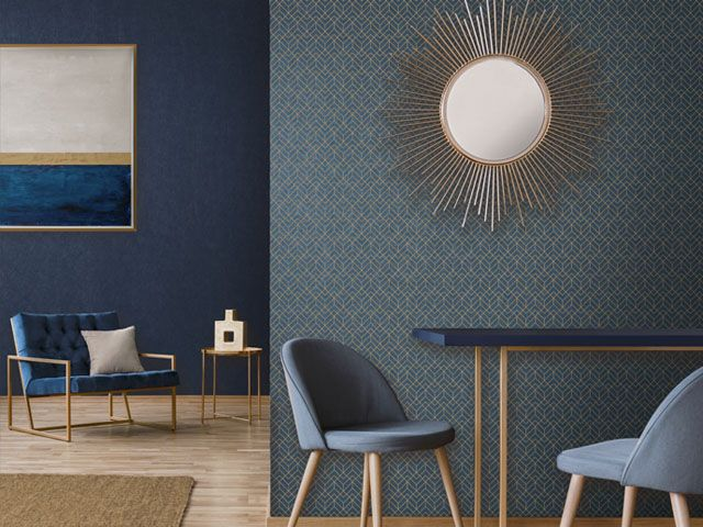 Miltons Manhattan Blue Geometric MAN 009 Wallpaper