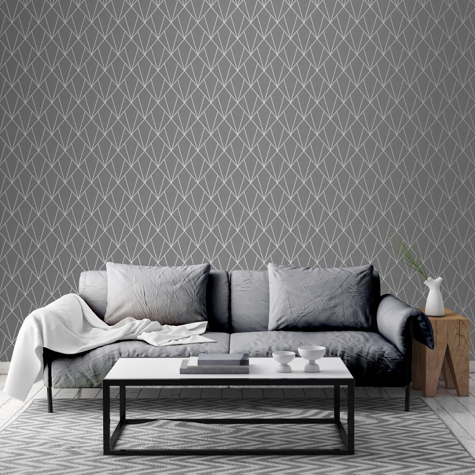 Muriva Indra Geometric Charcoal 154104 Wallpaper