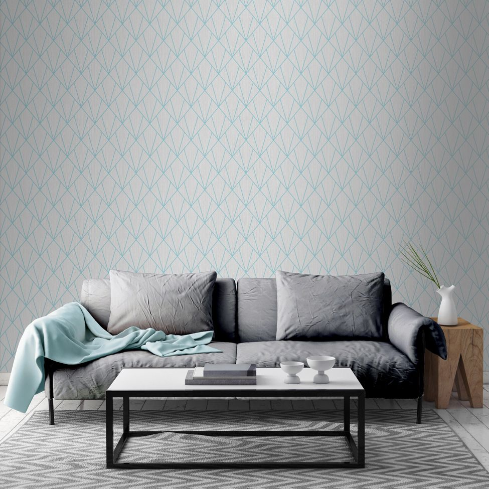 Muriva Indra Geometric Grey & Turquoise 154103 Wallpaper
