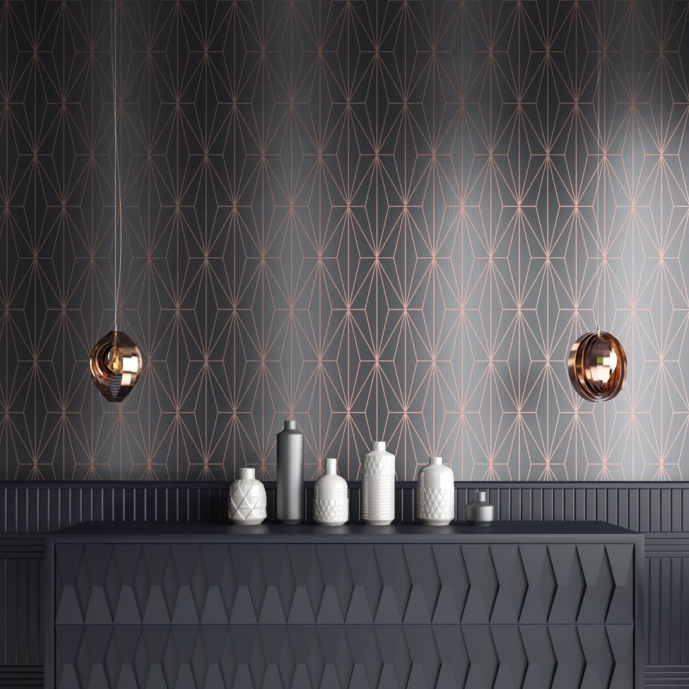 Muriva Kayla Luxury Geometric Charcoal & Rose Gold 703015 Wallpaper