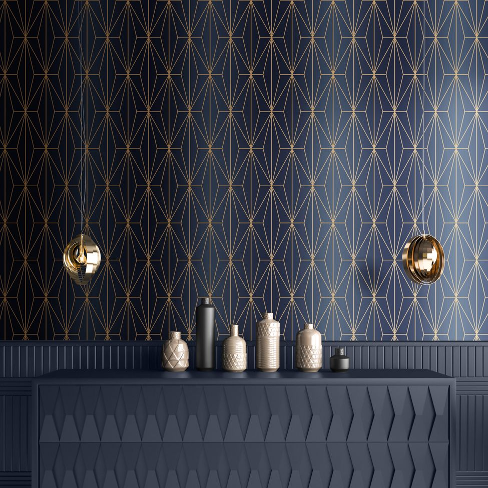 Muriva Kayla Luxury Geometric Navy & Bronze 703016 Wallpaper