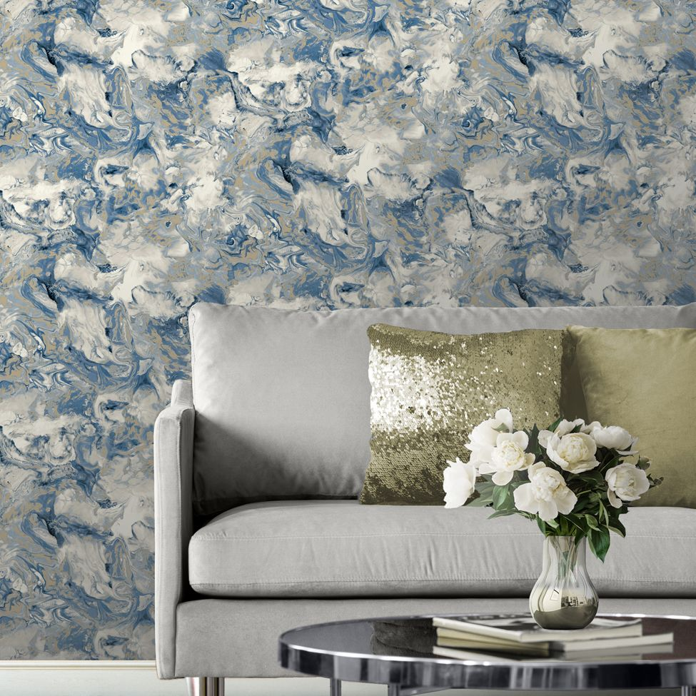 Muriva Metallic Elixir Marble Navy 166504 Wallpaper