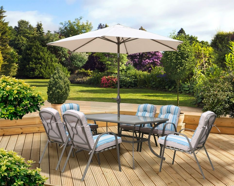 Pagoda Roma 6 Seater Dining Garden Furniture Set with Parasol