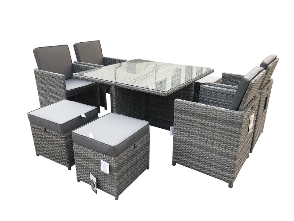 Pagoda Tuscany Deluxe 4 Seat Cube Furniture Set - 9 Piece